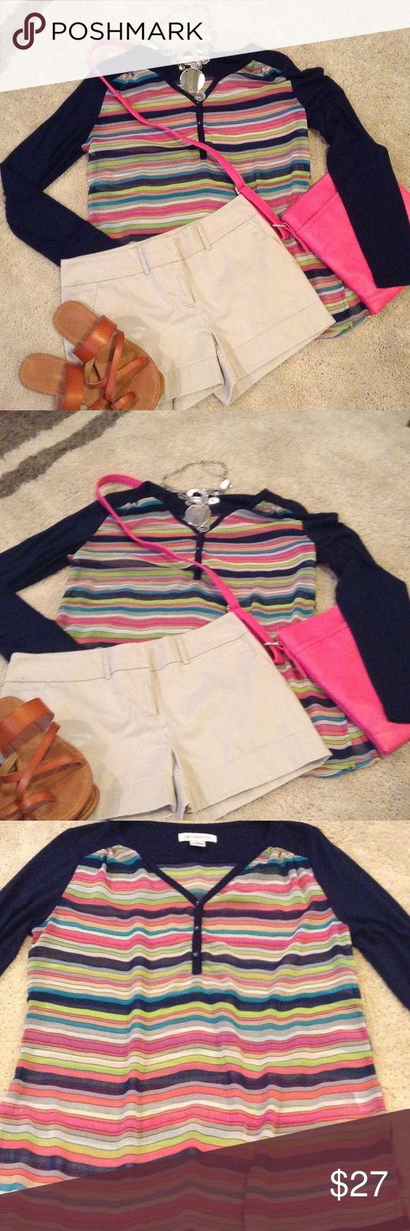Liz Claiborne strip sheer shirt Beautiful stripe shirt, sheer lightweight long sleeve blouse. Free necklace with ask price. Crossbody pink purse for sale, $22 Liz Claiborne Tops Blouses