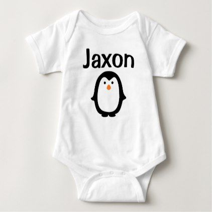 Personalized Penguin Baby Boy Bodysuit - newborn baby gift idea diy cyo personalize family