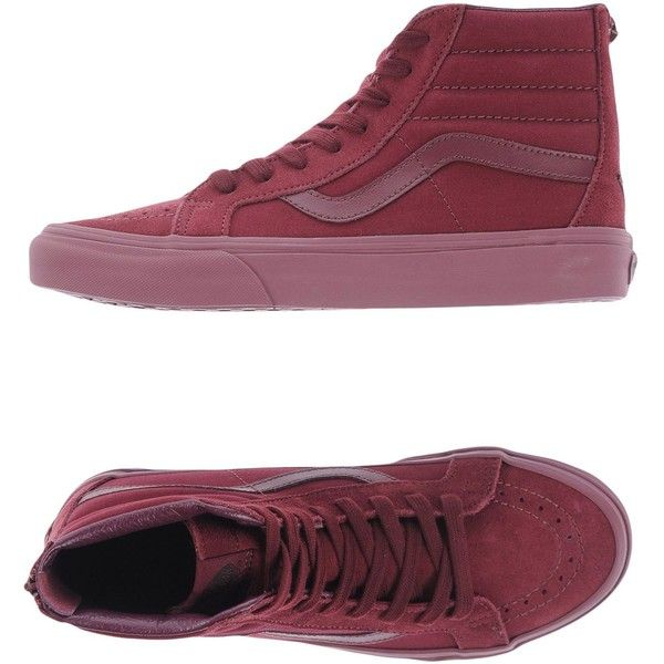 Vans High-tops & Sneakers ($81) ❤ liked on Polyvore featuring shoes, sneakers, maroon, high-top sneakers, maroon high tops, high top shoes, leather shoes and animal trainer