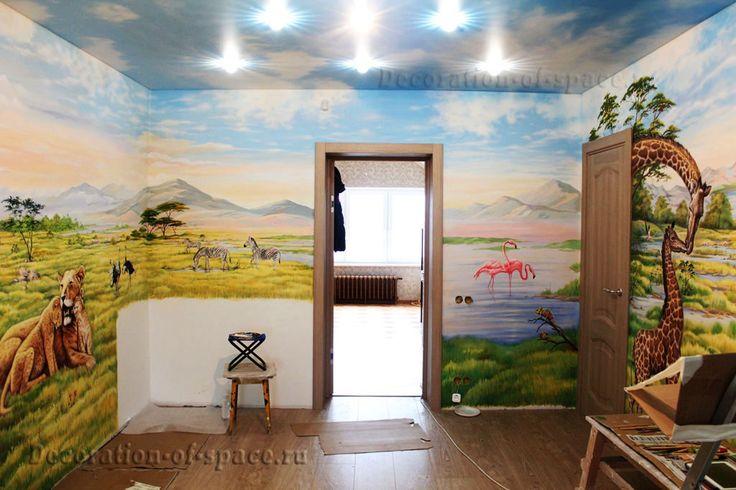 Фрагмент - 2 панорамной росписи стен в детской. Реалистичная живопись и аэрография для интерьера