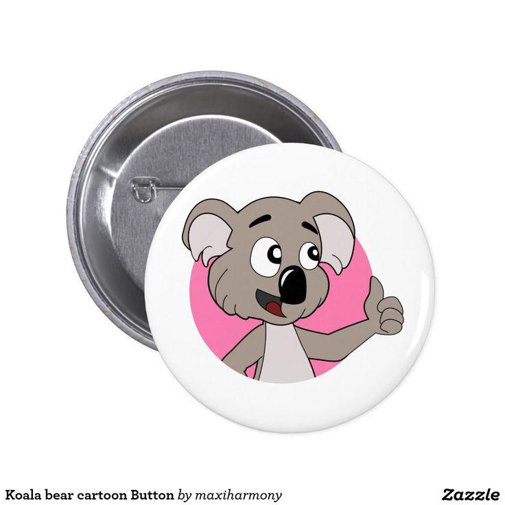 Koala bear cartoon Button