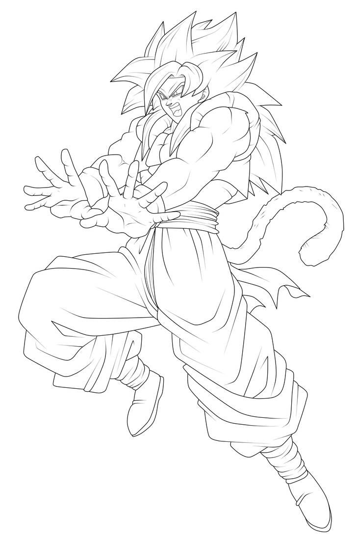 Gogeta Super Saiyan 4 Lineart By Chronofz On Deviantart Dragon Ball Artwork Dragon Ball Painting Dragon Ball Art