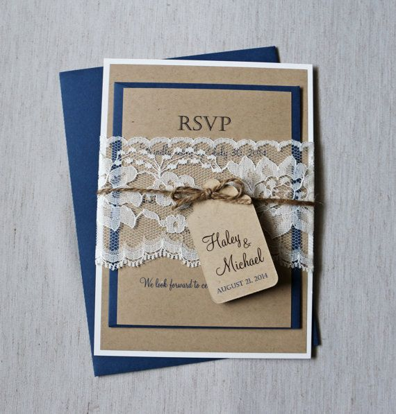 Rustic Lace Wedding Invitation, Navy Wedding Invitation, Rustic Kraft Wedding  Invitation, Blue Wedding Invitation, Shabby Chic Wedding