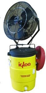 This fan turns a 10-gallon cooler into a misting system that provides cool mist for 5-6 hours for your horse, until it needs refilling. Perfect for fairs and shows. | Cooling systems for livestock | Living the Country Life | http://www.livingthecountrylife.com/animals/cooling-systems-for-livestock/