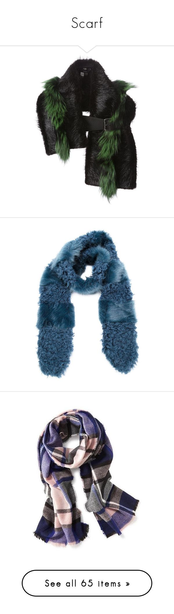 """Scarf"" by namelif1 on Polyvore featuring accessories, scarves, green scarves, fendi scarves, green shawl, fendi, blue, blue scarves, fake fur shawl ve faux fur shawl"