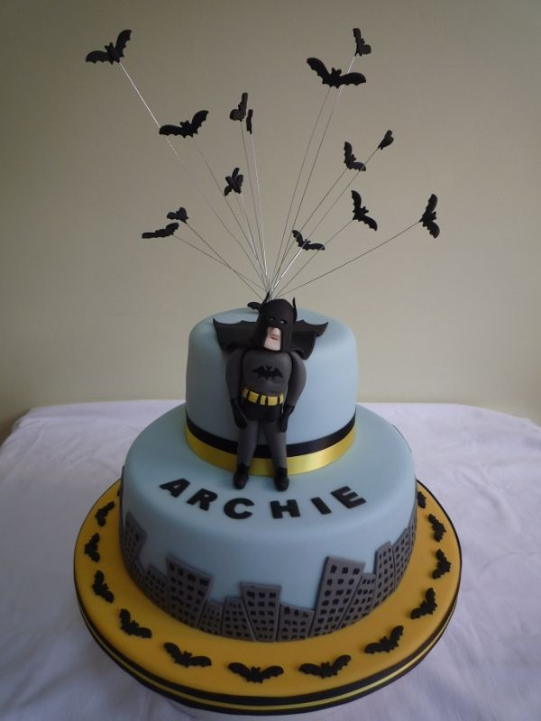 Add these bats on wires to my batman cake for ajs school