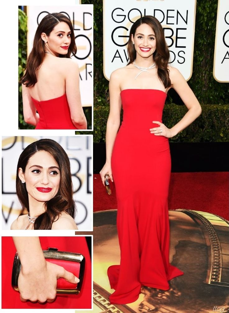 Emmy Rossum at 2016 Golden Globes in Armani Prive