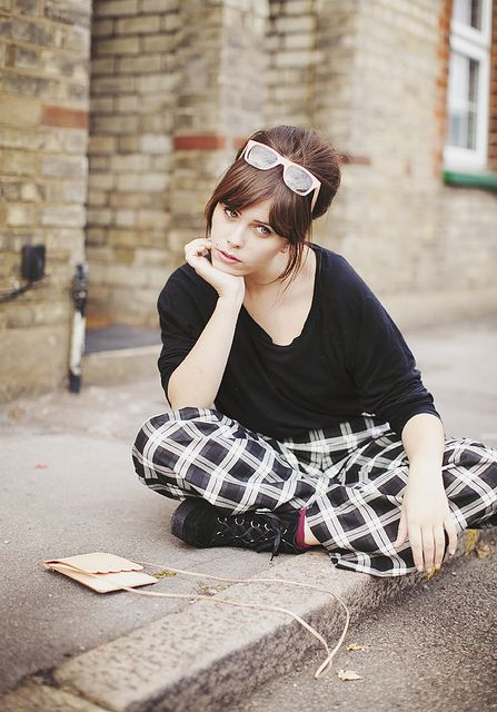 graphic print trousers & sixties hair