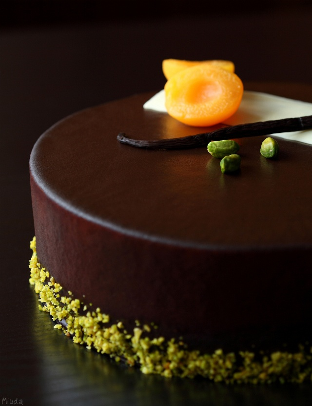 """Chocolate, apricot and cream cheese entremet Cake """"Morel"""" with apricots and cream cheese mousse"""