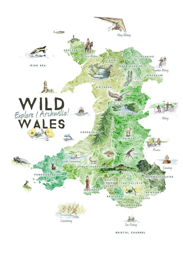 Wild Wales by Benjamin Mounsey #map #wales #uk                                                                                                                                                                                 More