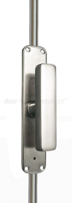 Satin chrome espagnolette bolt with a rectangular shaped turn handle. Turning the handle throws the rods, locating them into the staples and plates fitted to the door frame and floor. Turning the handle again disengages the rods, freeing the door to open. Used for securing a door or window top and bottom by simply turning the handle. This bolt has a grub screw type lock located in the handle back plate which, when tightened, presses against the rod underneath locking it in position. Although…