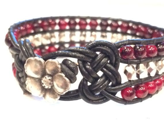 Leather and Bead Cuff Bracelet Silver and Red by SunsetSouthPaw