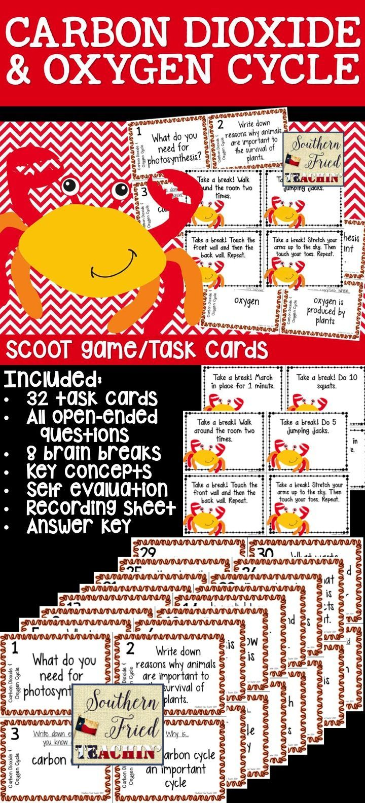 Task cards for a fun scoot game or science center on the carbon dioxide and oxygen cycle - all questions require critical thinking - also includes 8 brain break cards