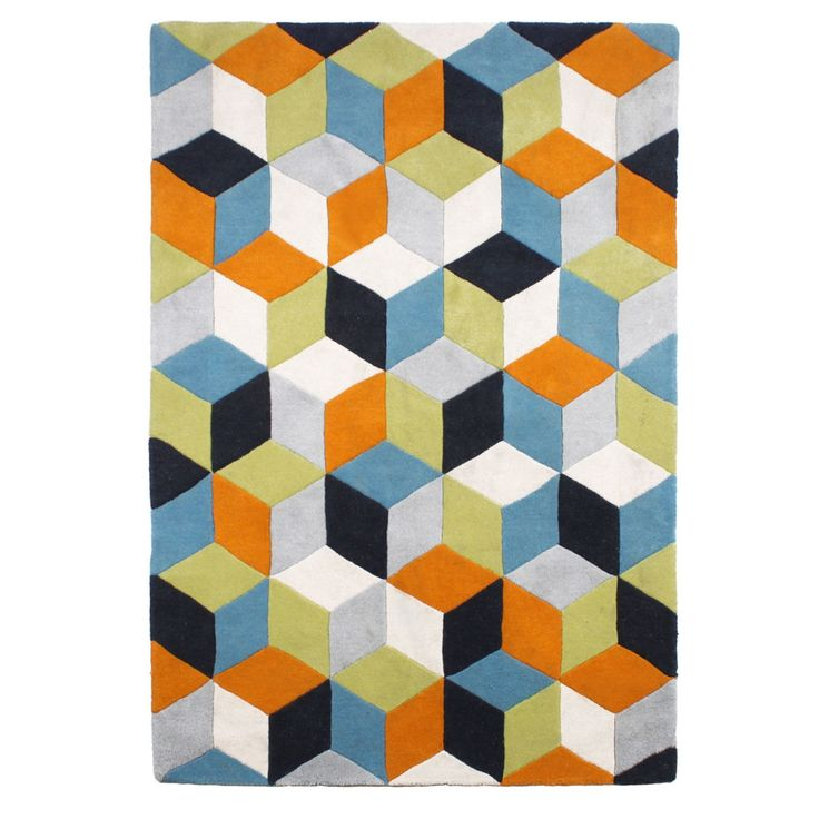 Great for use in modern home settings, this heavy weighted rug from the designer range by Ben de Lisi is made from hand tufted wool with a bright geometric rhombus design.