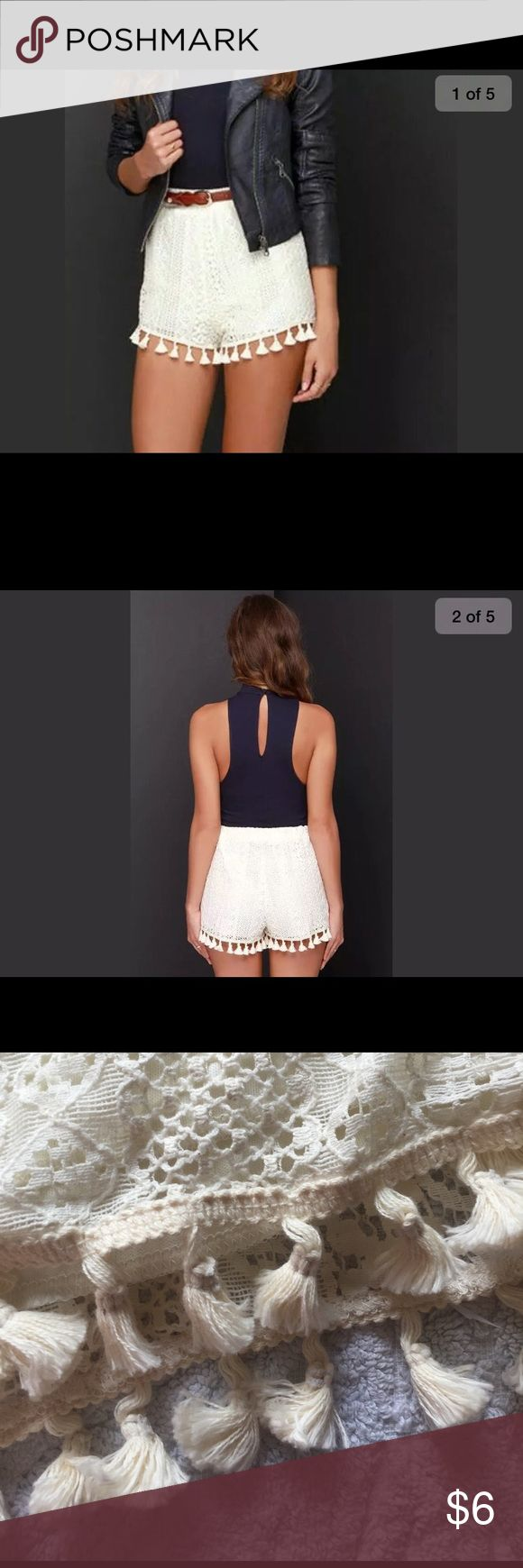 Lush brand cream lace shorts Cream lace and cream tassels Lush Shorts