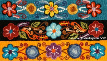 Perú: bordados. Las vinchas o diademas son tejidas en telar y bordadas a mano con lanas naturales.