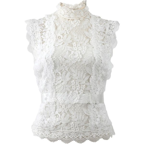 Oscar De La Renta High Neckline Lace Blouse (£1,555) ❤ liked on Polyvore featuring tops, blouses, shirts, white, lace blouse, lace cami, white lace blouse, lace camisole and lace sleeve shirt