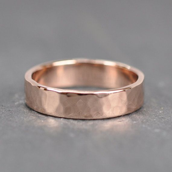 fave 14K Rose Gold Mens Wedding Band, 5mm Wide Ring, Hammered, size 10.25 through 12, any size available 635