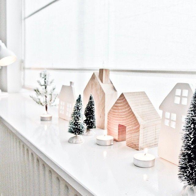 Winters dorpje op de vensterbank