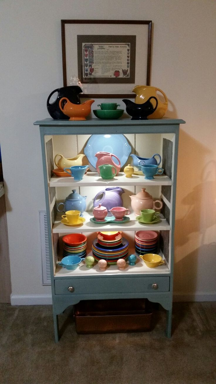 Double wall coffee cup likewise vintage pyrex clear glass refrigerator - My Fiesta Display In A Pie Safe From The That I Refinished I M In Love