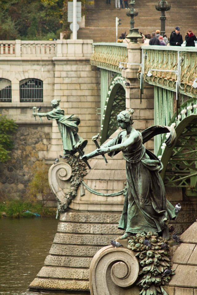 Čechův Bridge,  the shortest bridge on the Vltava river, Art Nouveau style, Prague