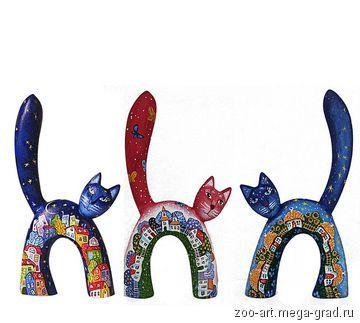 Кот с городским пейзажем. Скульптура. Ручная роспись. 18 см. - Сувениры и…