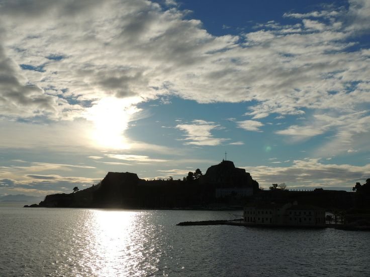 Sunrise over Corfu old fortress