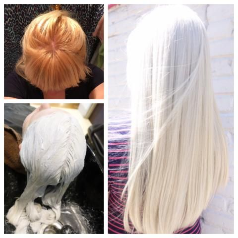 Elie Espinoza (@styledbyElie) of Red door Spa, Bethesda MD says this her new client arrived with orange hair and roots. Here Espinoza shares the details on this beautiful transformation: Step 1: To the root apply Wella Blondor with 30 volume developer (with a splash of 40 volume) for 40 minutes.