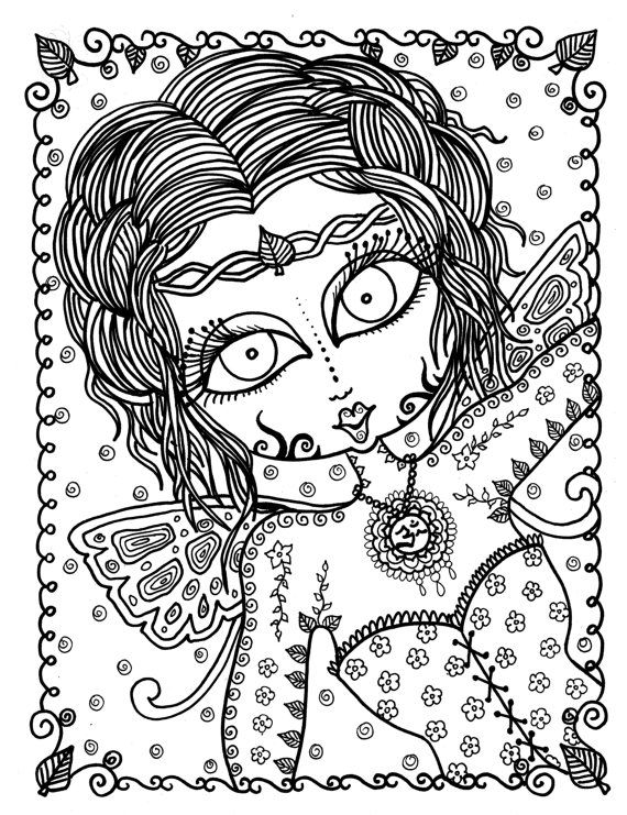 Zen Fairy Adult Coloring Page Instant Download By ChubbyMermaid