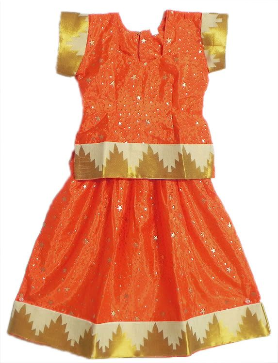 Saffron Lehenga, Choli with Zari Border (Silk))