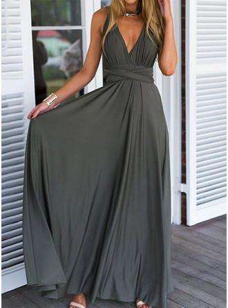 VERYVOGA Sans Manches Trapèze Maxi Fête Robes – Gris – #fête #gris #manches #…