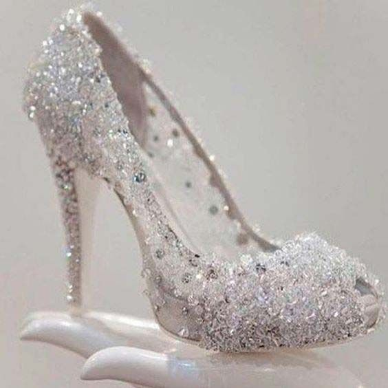 d3ce1739483 Beautiful silver high heels for engagement brides