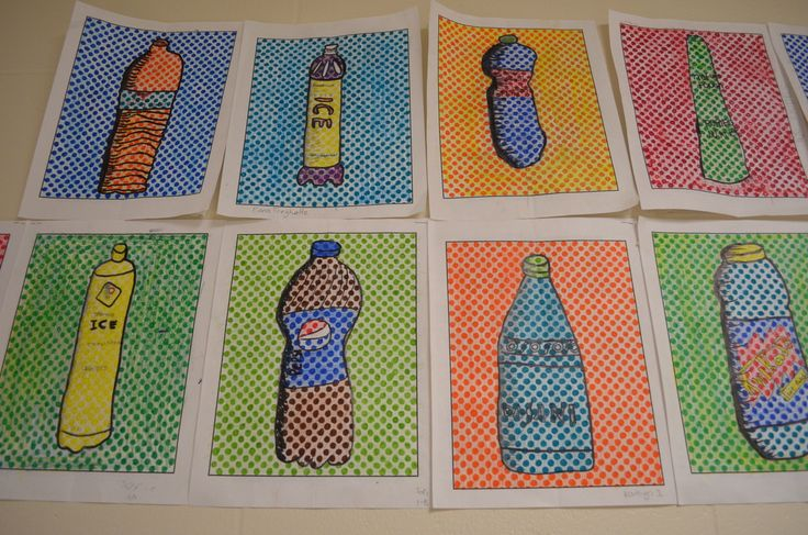 """""""Pop"""" Art bottle drawings inspired by Lichtenstein & Warhol! Awesome lesson on pop art with a focus on drawing perspective and using hatching lines to create value. Also a small focus on contrasting colors and mixing colors using colored pencils. Great art lesson for middle school students....it was rated their favorite project of the whole year!"""