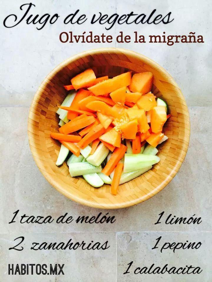 Jugo de vegetales para la migraña