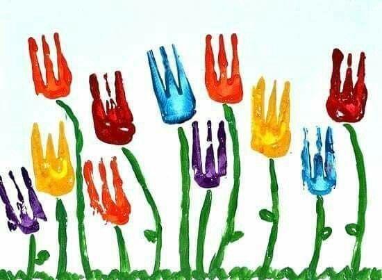 Çatal baskısı çiçekler