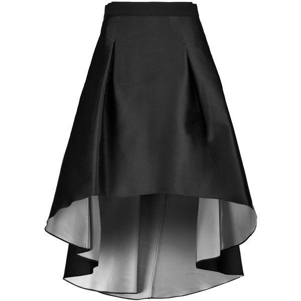 Noir Sachin & Babi Valeria asymmetric taffeta skirt (€290) ❤ liked on Polyvore featuring skirts, black, asymmetrical skirts, knee high skirts, taffeta skirt and knee length skirts