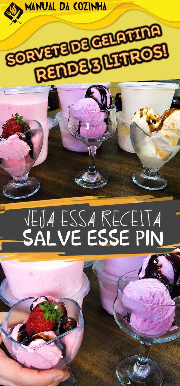 ESSE É O FAMOSO SORVETE DE GELATINA QUE RENDE 3 LITROS  #sorvete #sorvetedegelatina #gelatina #sorvetecaseiro #rende3litros