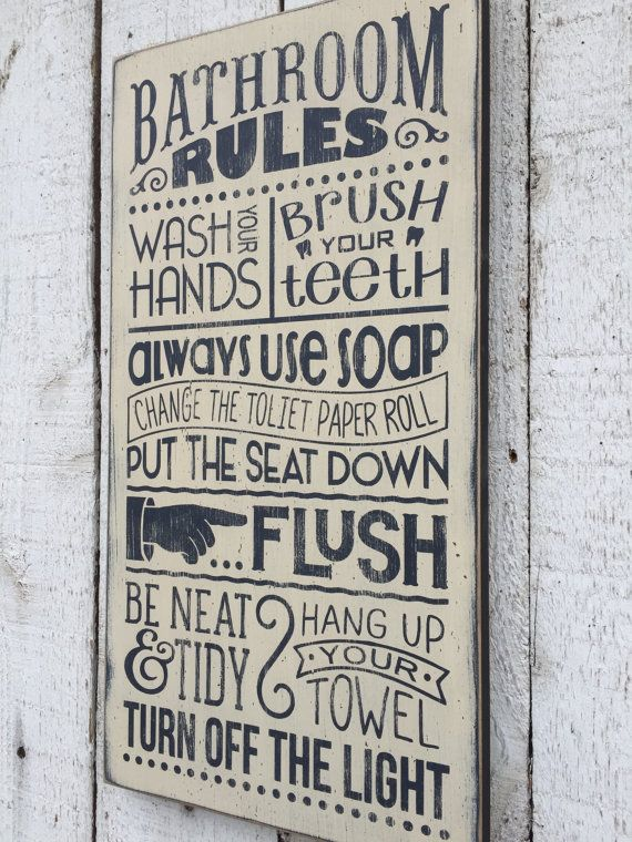 Bathroom Rules - distressed rustic hand painted wood sign, Children's bathroom wall decor, typography subway style wall art, farmhouse style