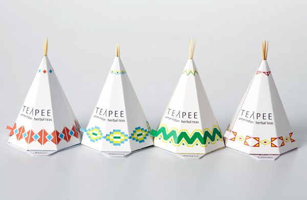 "Eye catching and creative Amerindian herbal teas brand ""TEAPEE"" packaging created by Canadian Sophie Pépin. Directly inspired by the native American culture and nomadic lifestyle.  http://creativeroots.org/2012/03/north-american-teapee-packaging-design/"
