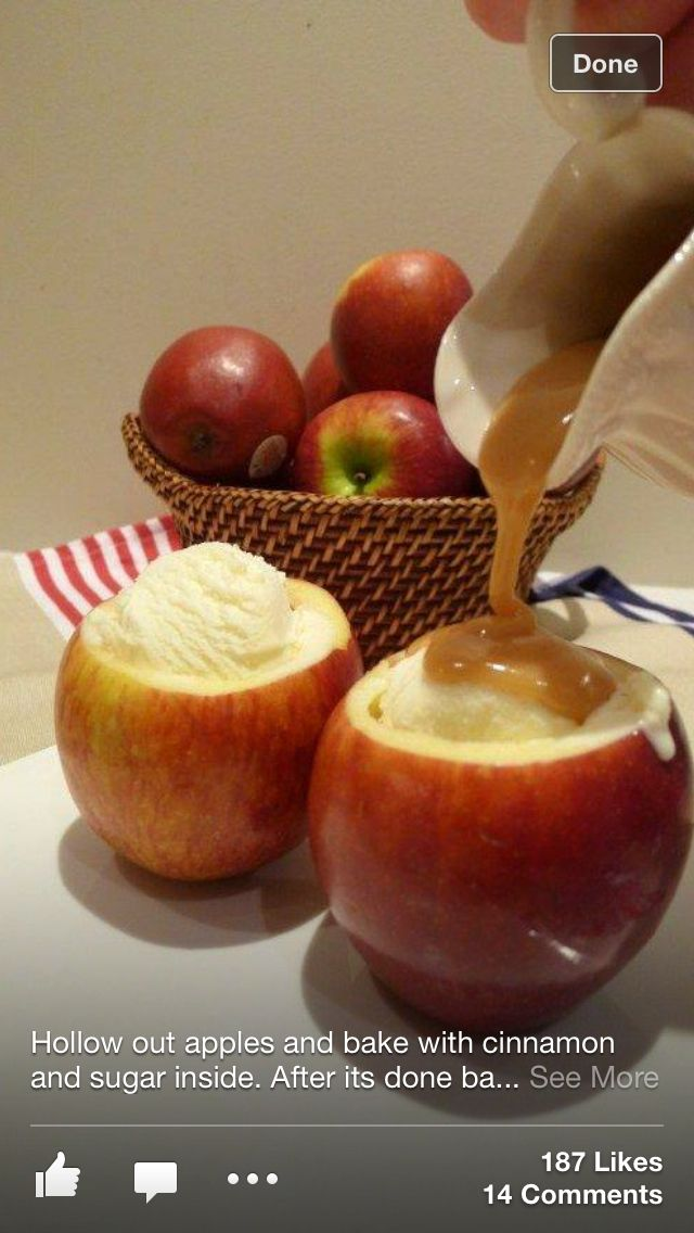 Hollow out apples coat the insides with cinnamon and brown sugar and bake when warm fill with ice-cream and carmal