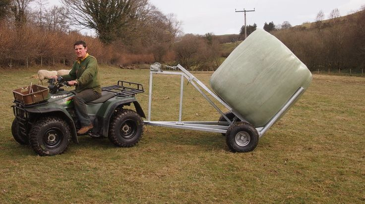 The ATV bale trailer or single Bale trailer can move large round bales of haylage, silage or straw with ease using an ATV, compact tractor, or four wheel drive vehicle.  Anybody can use it to lift and lower bales safely.   Due to the wide, low ground impact tyres fitted to the bale trailer, damage to your fields is minimal. It also travels over undulating terrain with ease.