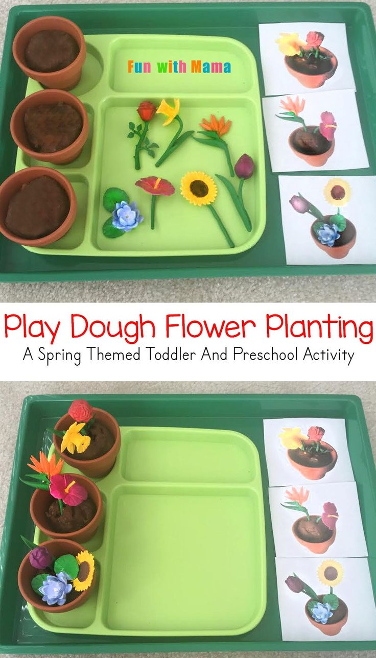 "Invitation to play with playdough and ""plant"" flowers! A cute sensory activity for preschoolers and toddlers this spring!"