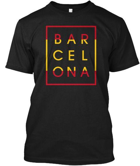 Barcelona T Shirt   Spain City Tee Black T-Shirt Front