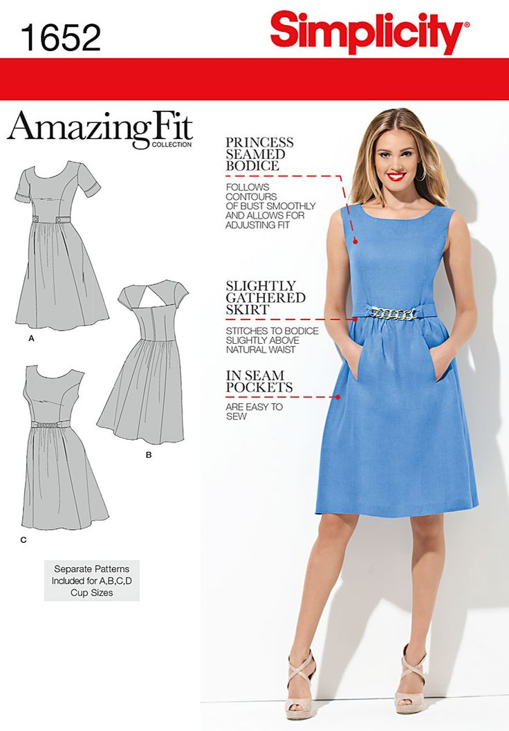 Misses' and Miss Petite Amazing Fit dress has back zipper, scoop neckline and full or peek-a-boo back. Go sleeveless, short or cap sleeves. Customize your look with Simplicity sewing pattern 1652.