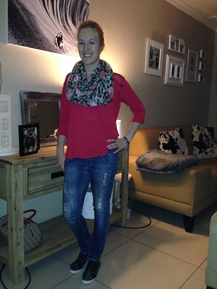 Red casual autumn outfit, high tops, floral scarf