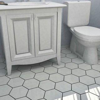 SomerTile Hextile Matte White Porcelain Floor and Wall Tile (Set of 14) - 15742539 - Overstock.com Shopping - Big Discounts on Floor Tiles