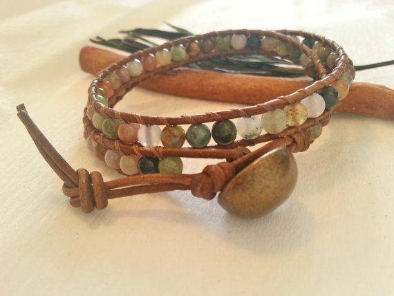 Double wrap multicolor  leather bracelet, Bohemian wrap bracelet agate stone, brown leather multicolor wrap bracelet