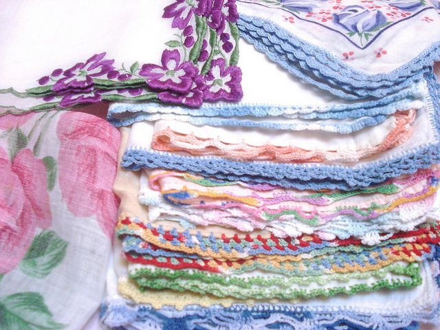 Vintage Hankies...I especially love the embellished ones. Embroidered or crocheted edging is just lovely ♥