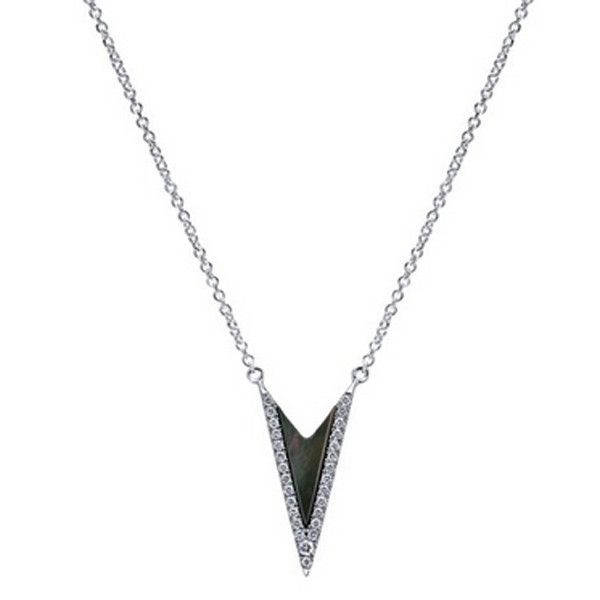 """Gabriel 14K White Gold """"Geometric"""" Black Mother of Pearl Diamond Drop Pendant with a Trillion Cut Pearl at 0.36 Cts & 0.15 Cts Round Diamonds. Style NK4728W45BM"""