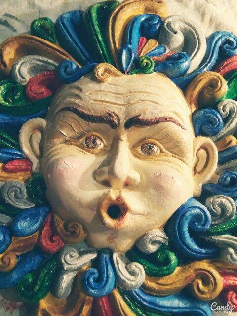 Antonio Drago. Eolo. Olio su terracotta di caltagirone (dettaglio viso). 2015